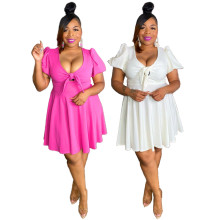 (ebay price:$23.62)Women's Ladies Sexy V Neck Tie Front Short Sleeve Casual Solid Color Dress