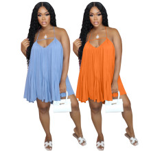 (ebay price:$18.26)Women's Ladies Strappy Backless Pure Color Chiffon Loose Dress Sexy Casual Dress