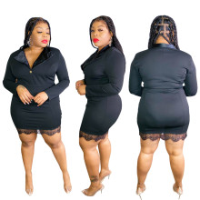 (ebay price:$23.23)Plus Size Women Tailored Collar Long Sleeve Lace Patchwork Casual Bodycon Dress