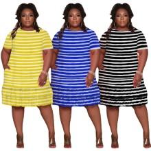 (ebay price:$24.4)Plus Size Women Round Neck Short Sleeve Stripe Print Pockets Ruffled Dress