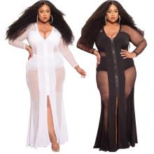 (ebay price:$26.49)Plus Size Women V Neck Long Sleeve Mesh Patchwork Zipper Slit Sexy Party Dress