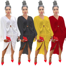 (ebay price:$24.29)Sexy Women V Neck Flared Sleeve Ruched Slit Solid Color Casual Party Dress