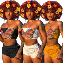 (ebay price:$16.86)Fashion Women Butterfly Print Tube Top+Short Pants Summer Casual Outfits 2pcs