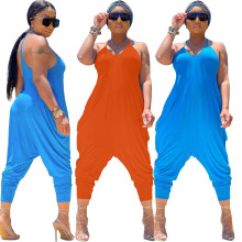 (ebay price:$22.26)Women's Ladies Strappy Solid Color Baggy Harem Pants Casual Playsuit Romper