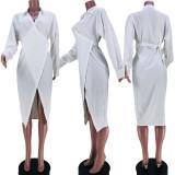 (ebay price:$21.28 )Women Sexy Turn-down Neck Long Sleeve White Color Tie Up Irregular Shirt Dress