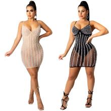 (ebay price:$27.45)Sexy Women Spaghetti Strap Rhinestone Beaded Backless See Through Bodycon Dress