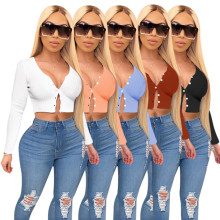 (ebay price:$20.34)Women Fashion Long Sleeve Solid Color Single-breasted Short Sweater Cardigan