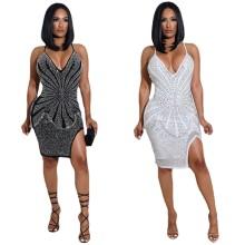(ebay price:$32.78)Sexy Women Spaghetti Strap V Neck Rhinestone Slit Backless Club Bodycon Dress