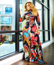 (ebay price:$26.02)Women Long Sleeve Zipper Ruched Floral Print Long Dress