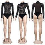 (ebay price:$20.52)Women's Ladies Sexy Long Sleeve See Through Rhinestone Casual Club Bodysuit