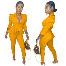 (ebay price:$28.91)Women Halter Puff Sleeve Ruffled Top Solid Color Fashion Bodycon Outfits 2pcs
