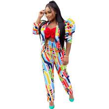 (ebay price:$29.76)Fashion Women Long Puff Sleeve Coat Colorful Print Casual Street Outfits 2pcs