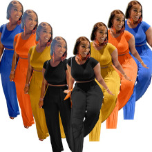 (ebay price:$26.88)Fashion Women Pure Color Rib Short Sleeve T-shirt+Long Wide Leg Pants Set 2pcs