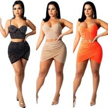 (ebay price:$24.79)Women Sexy Spaghetti Strap Vest Solid Rhinestone See Through Short Dress 2pcs