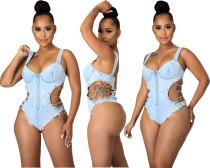(ebay price:$25.43 )Women Bodysuit Spaghetti Strap Zipper Chain Jeans Casual Short Jumpsuit Swimwear