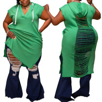 (ebay price:$27.29)New plus size women's green V-neck hollow loose sweater dress