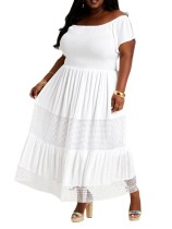 (ebay price:$34.65)Plus Size Women Short Sleeve Shirred Hollow Out Pure Color Fashion Casual Dress