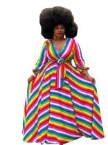 (ebay price:$38.53)Plus Size Women V Neck Long Puff Sleeve Colorful Stripe Print Belted Long Dress