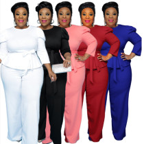 (ebay price:$30.6)Plus Size Women Fashion 3/4 Sleeve Belted Solid Color Casual Outfits Two Piece