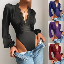 (ebay price:$18.7)Women Fashion V Neck Long Sleeve Lace Patchwork Solid Color Casual Bodysuit