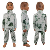 (ebay price:$31.91)Fall Winter Long Sleeve Tie-dyed Print Pockets Zipper Mother Daughter Outfits