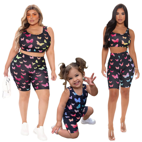 (ebay price:$17.22)Mother Daughter Matching Butterfly Print Sleeveless Vest+Short Pants Outfits 2pc