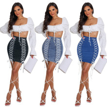 (ebay price:$21.63)Women's Ladies Solid Color Denim Eyelets Lace-up Zipper Fashion Pencil Skirt