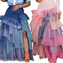 (ebay price:$33.64)Plus Size Women's Ladies Casual Retro Sexy Mesh Patchwork Irregular Tiered Skirt