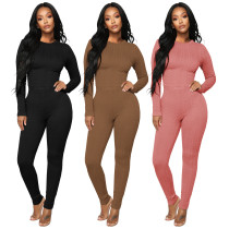 (ebay price:$37.33)Women Fashion Long Sleeve High Elastic Solid Color Bodycon Sweater Suit 2pcs