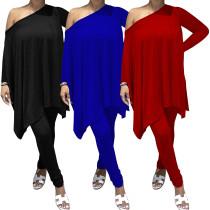 (ebay price:$29.38)Women's Sloping Shoulder Long Sleeve Irregular Top Solid Color Long Pants Set