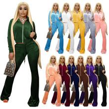 (ebay price:$36.33 )XS-2XL Women Fashion Long Sleeve Zipper Solid Velvet Boot-cut Pants Set 2pcs
