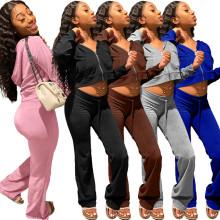 (ebay price:$36.99)XS-XXL Women Long Sleeves Hooded Zipper Solid Velvet Casual Sports Pants Set 2pc