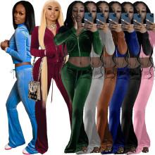 (ebay price:$36.99)XS-XXL Women Long Sleeves Zipper Velvet Solid Color Casual Sports Pants Set 2 Pc