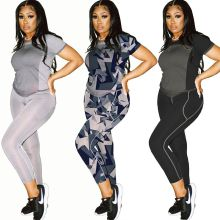 (ebay price:$26.86)XS-XL Women Sporty Printed Short Sleeve T-shirt+Long Pants Set 2pcs