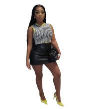 (ebay price:$15.76)Women Fashion Solid Color PU Back Zip Mini Pencil Skirt Casual Club Skirts