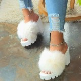 (ebay price:$21.84)Women's ladies fashion casual home fluffy high heel slippers sandals