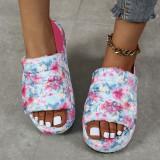 (ebay price:$21.81)Women's ladies fashion casual platform slippers sandals