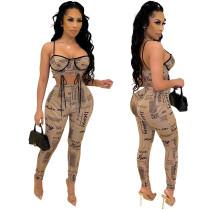(ebay price:$20.99)Women spaghetti strap print bodycon club party casual pants set 2 pc
