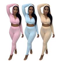 (ebay price:$41.95)Women's Solid Color Hooded Midriff-baring Sweatshirt Set