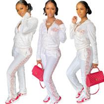 (ebay price:$31.12)Women Hooded Long Sleeve Floral Print Zipper Pockets Long Outfits 2pcs