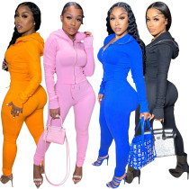 (ebay price:$28.88)Women Stylish Hooded Long Sleeve Zipper Coat Solid Color Bodycon Outfits 2pcs