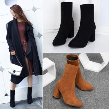 (ebay price:$31.9)Women's ladies fashion casual solid suede thick heel Martin boots