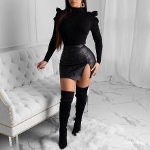 (ebay price:$22.32)Women Fashion Solid Color PU Zip Slit Mini Skirts