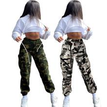 (ebay price:$26.78)Women Fashion Elastic Waist Camouflage Print Pockets Casual Pants