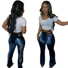 (ebay price:$22.32)Women Fashion Hollow Out Letter Print Skinny Boot-cut Pants
