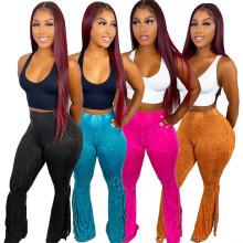 (ebay price:$24)Women Elastic Waist Printed Tasseles Casual Long Boot-cut Pants