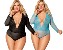 (ebay price:$19.47)Women's Sexy Lingerie V Neck Long Sleeve See Through Backless Bodysuit Sleepwear