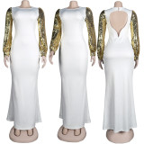 (ebay price:$34.12)Women Long Sequins Sleeve Solid Color Backless Party Cocktail Dress