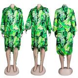 (ebay price:$28.93)Women Long Puff Sleeve Single-breasted Printed Drawstring Loose Dress