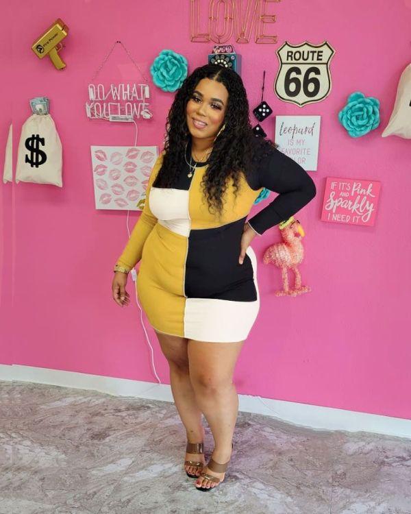 (ebay price:$23.4)Plus Size Women Round Neck Long Sleeve Colors Patchwork Bodycon Pencil Dress